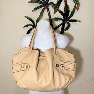 Cole Haan cream pebbles leather gathered satchel
